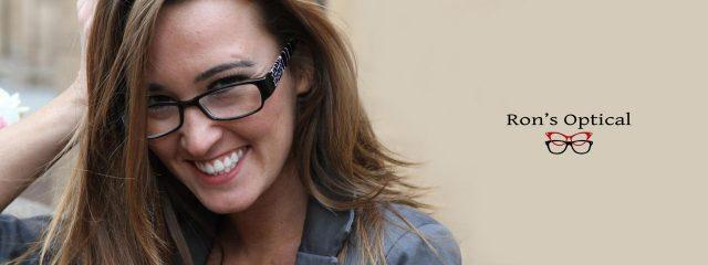 Eye doctor, woman wearing Rons Optical eyeglasses in Milton, ON