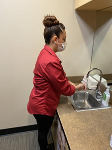 eye doctor hand washing