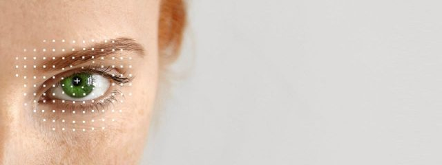 Close up of woman's eye, ad for contact lens specialist