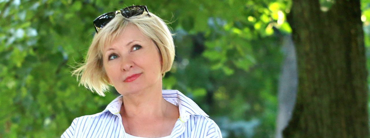 Woman contemplating dry eye solutions