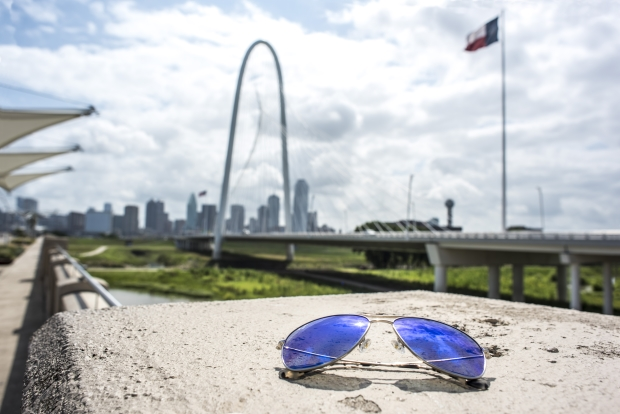 Sunglasses near the arch