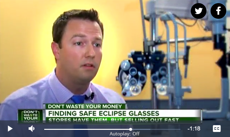 Dr Josiah Young at Opticare Vision Centers - Eclipse glasses