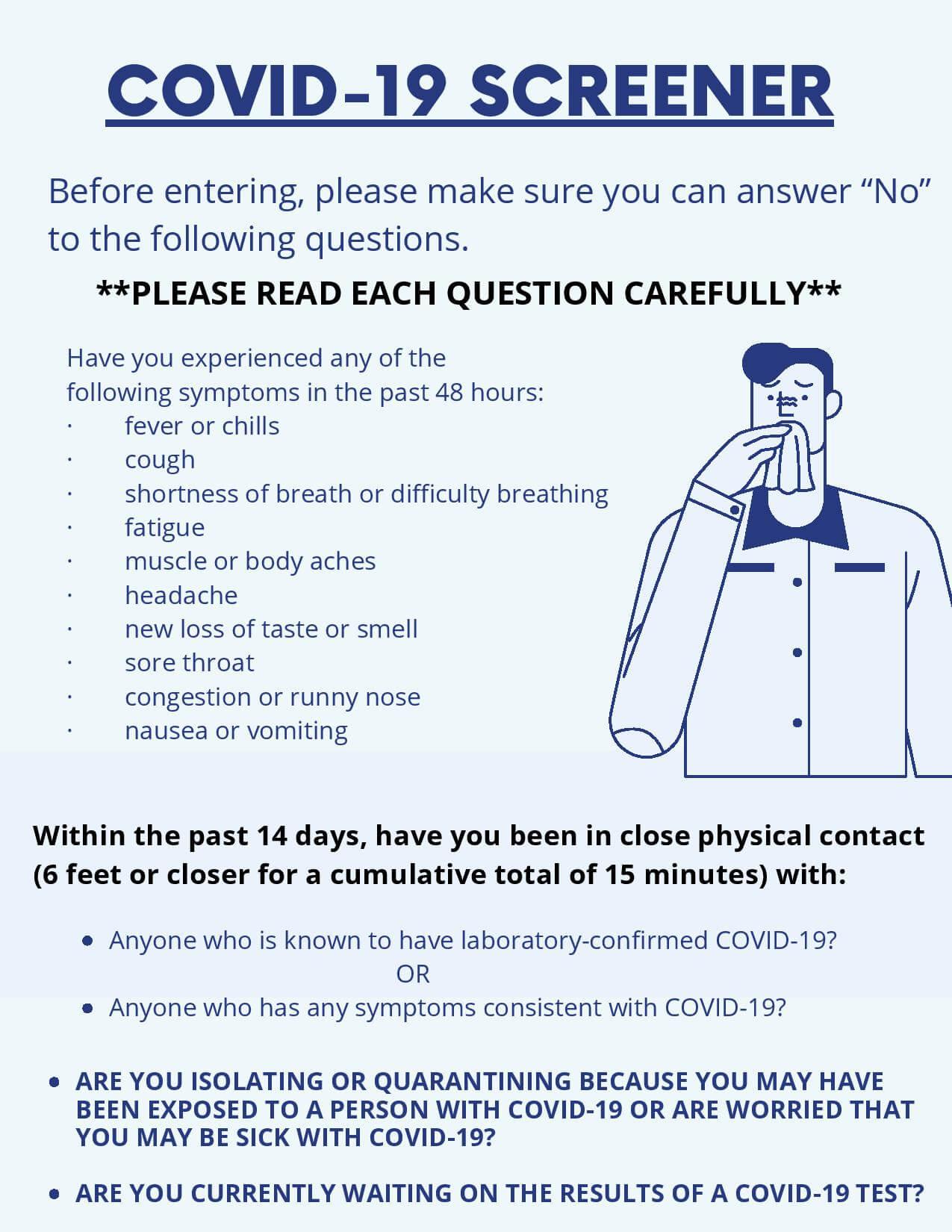 Covid - 19 screener questions