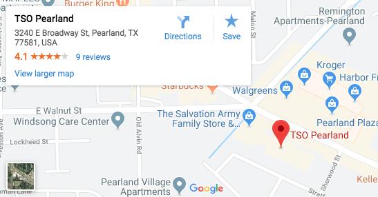 TSO Pearland Google Map