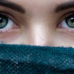 Woman Eyes Scarf Over Face 1280×480