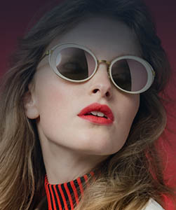 Model wearing Vogue sunglasses