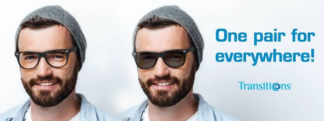 Optometrist, man wearing Transitions® lenses eyeglasses in Irving, TX