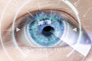Eye exam, woman eye with advanced technology in Freelton, ON