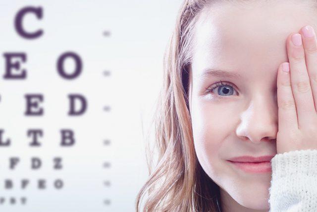 Optometrist, girl covering her right eye in Rocklin, CA