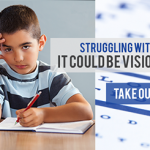 eye exam, sad liitle boy at school in Citrus Heights, California