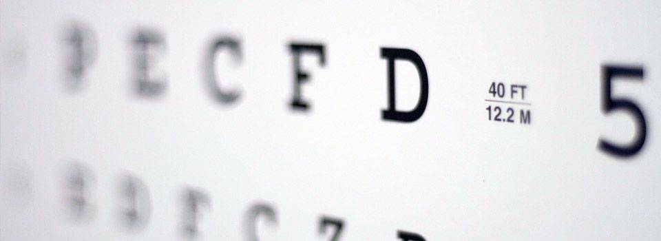 Eye chart for eye exam