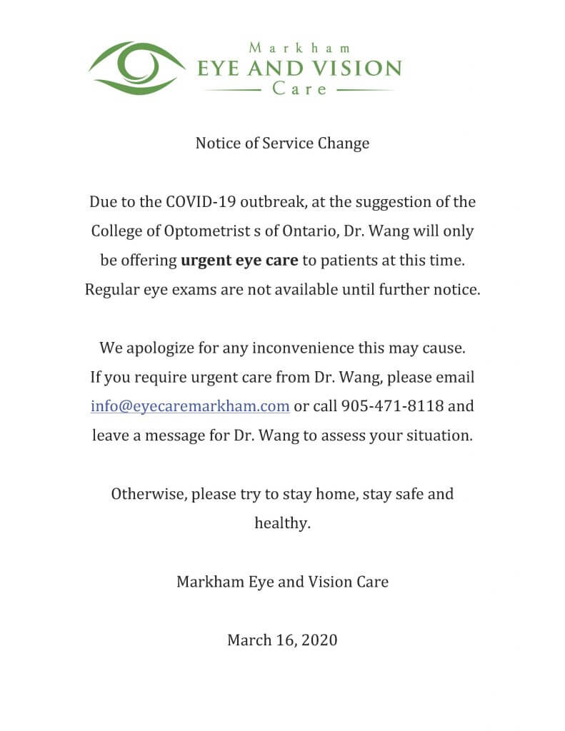 COVID 19 Notice of Service Change