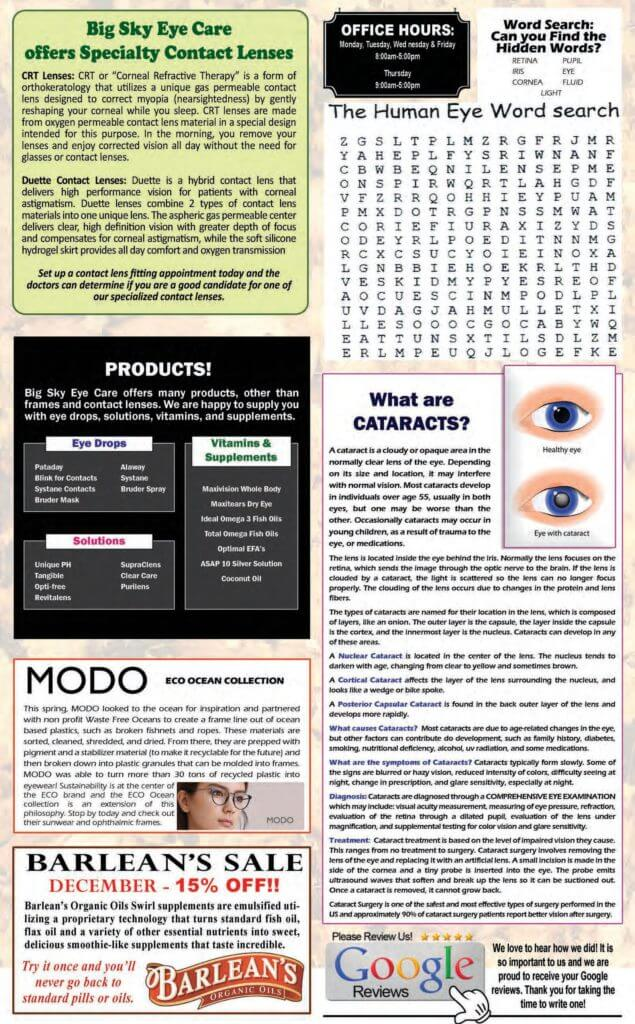 Our Fall Eye Care Newsletter - page 2 - in Hamilton, Montana