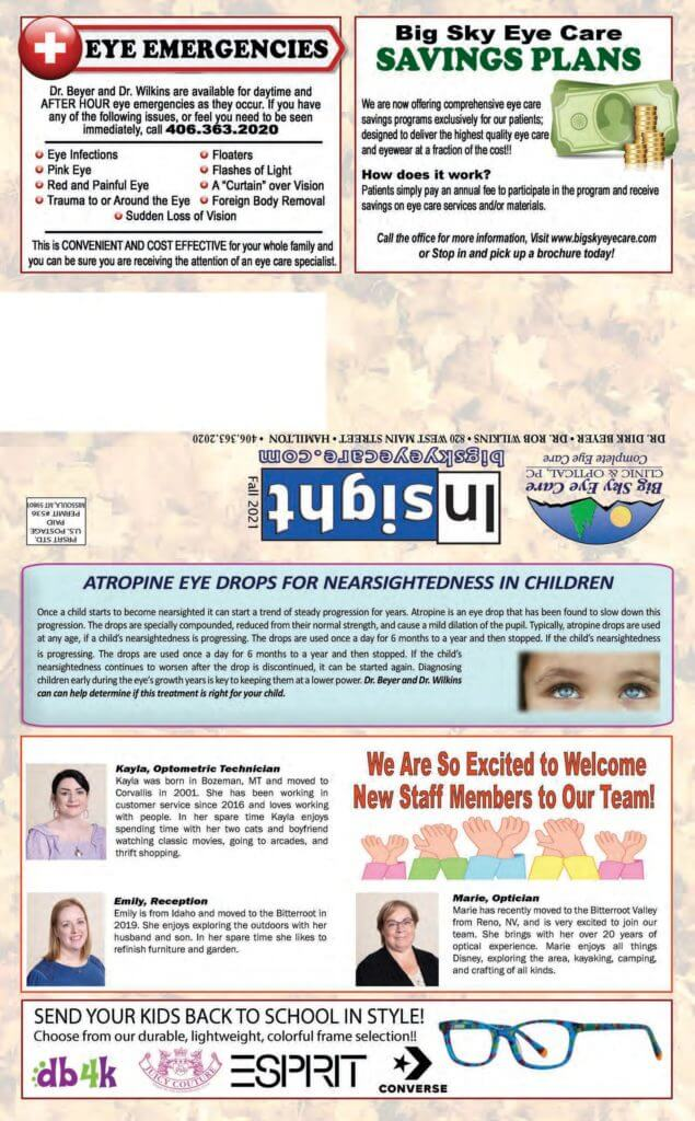 Our Fall Eye Care Newsletter in Hamilton, Montana
