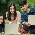 Eye care, students with laptops in Burlington, Massachusetts