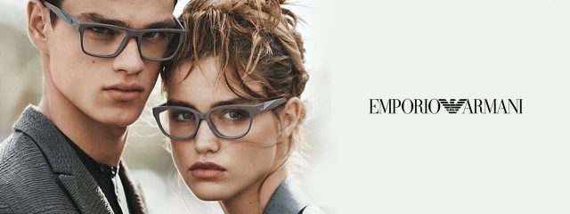 Optometrist, man and woman wearing Emporio Armani eyeglasses in Burlington, Massachusetts