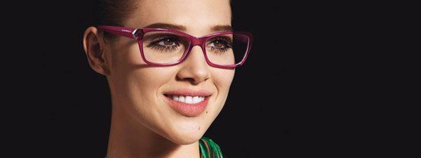 Optometrist, woman wearing Giorgio Armani sunglasses in Burlington, Massachusetts