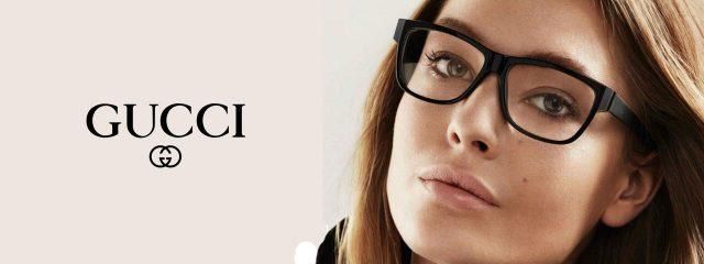 Eye doctor, woman wearing Gucci Eyeglasses in Burlington, Massachusetts