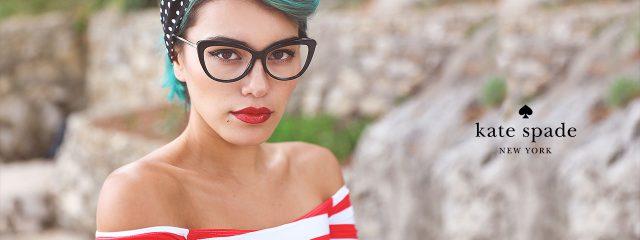 Optometrist, woman wearing Kate Spade eyeglasses in Burlington, Massachusetts