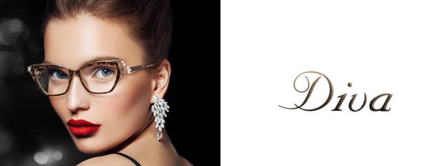 Optometrist, woman wearing Diva eyeglasses in Burlington, Massachusetts