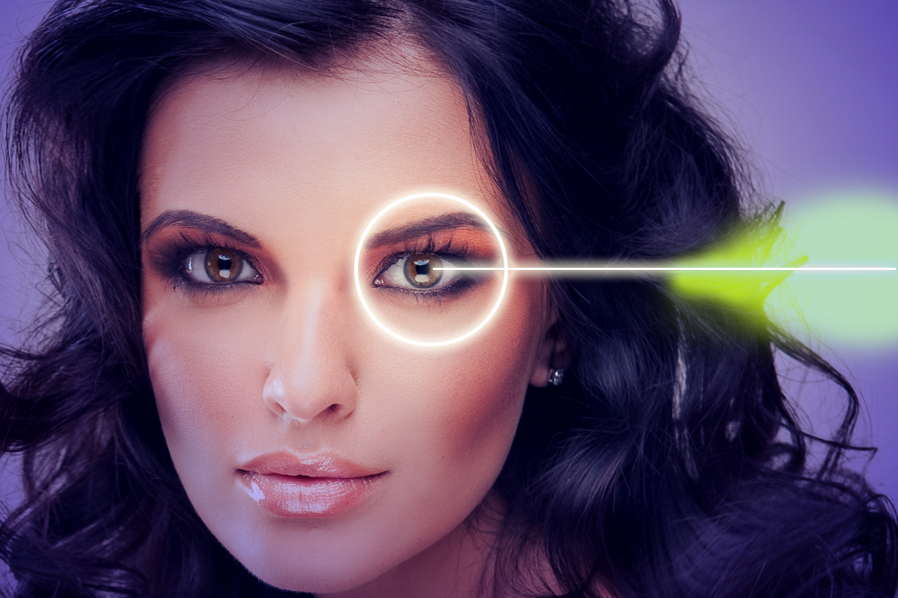 imagery of laser pointing at eye highlighted by light ring. Ask about LASIK co-management at an eye doctor near you!