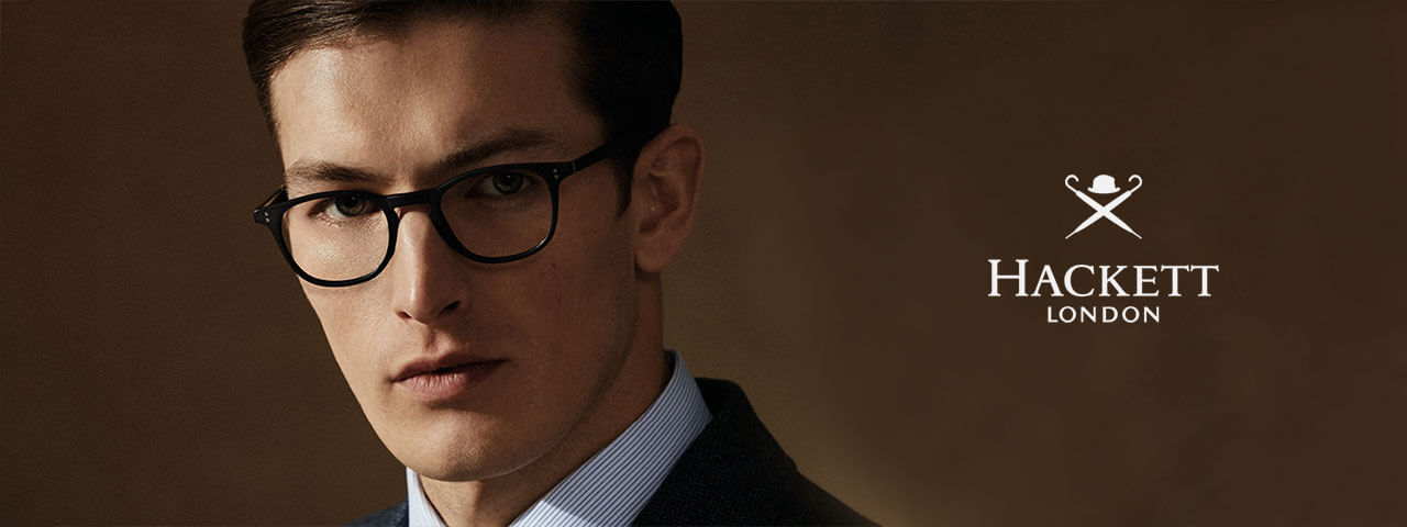 Man wearing designer eyeglasses