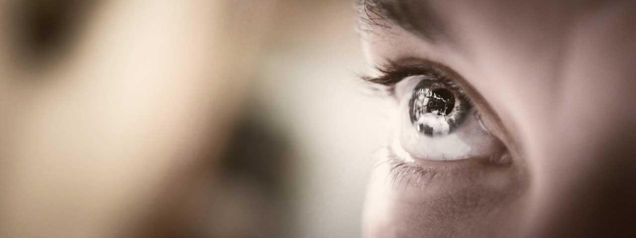 close-up of eye with retinitis pigmentosa