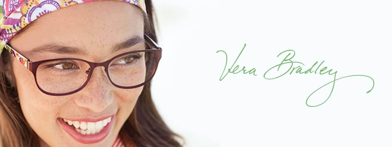 Woman wearing vera bradley eyeglasses