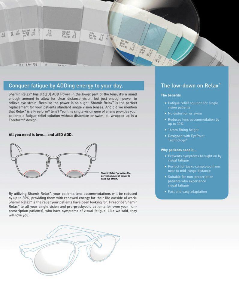 shamir relax lenses photo of information