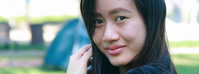 Eye doctor, asian girl wearing toric contact lenses in Lake Mary & Orlando, FL