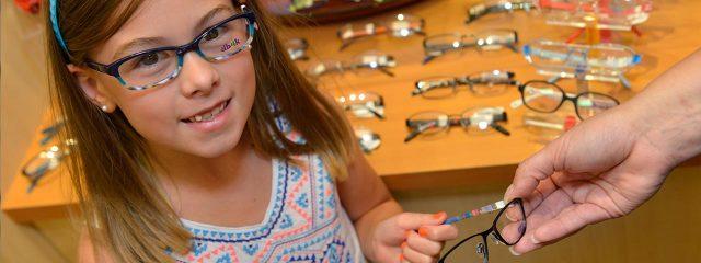 Eye doctor, little girl wearing eyeglasses in Lake Mary & Orlando, FL
