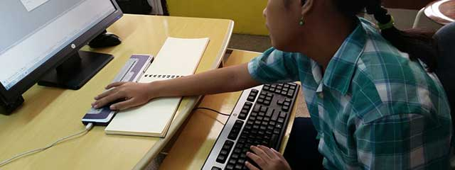 Visually impaired person using computer