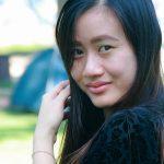 Asian girl wearing scleral lenses