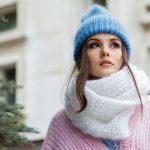 Girl wearing blue woolen hat