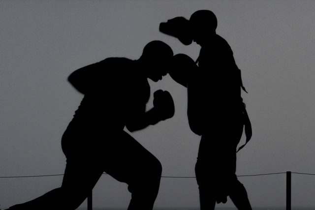 illustration of boxing and potential brain injury