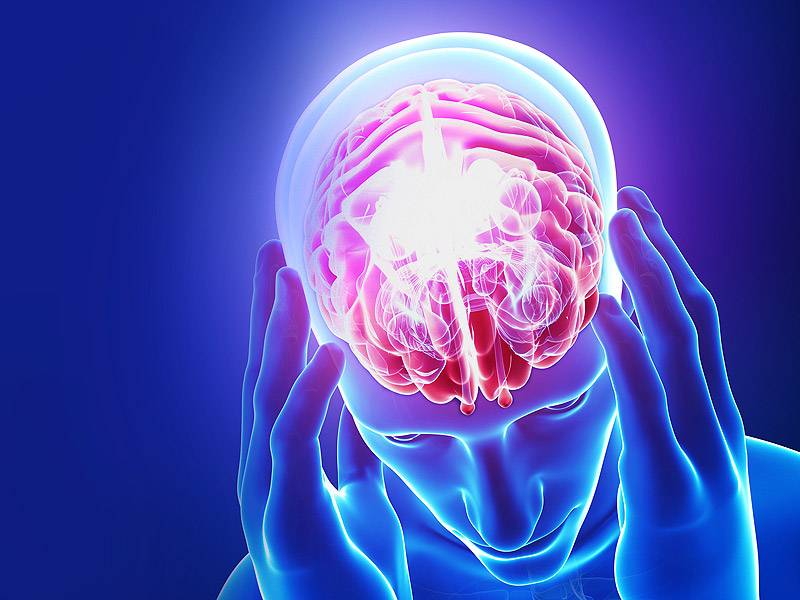 illustration of brain injury and headache pain