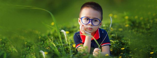 Optometrist, little asian boy wearing glasses in New Baltimore, Michigan
