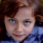 Eye doctor, little girl blue eyes in New Baltimore, Michigan