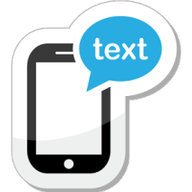 A Cell Phone with the word text in a text bubble