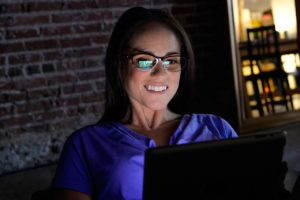 glasses american woman night computer