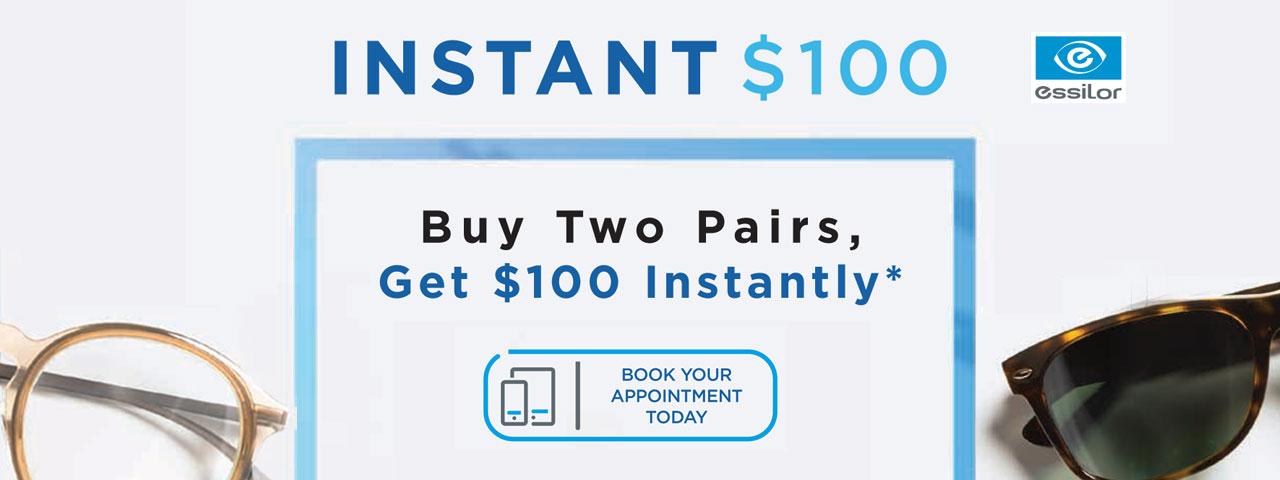 Instant $100 rebate on Essilor lenses