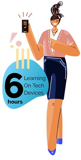 Learning on Tech Devices for 6 hours in Fort Worth