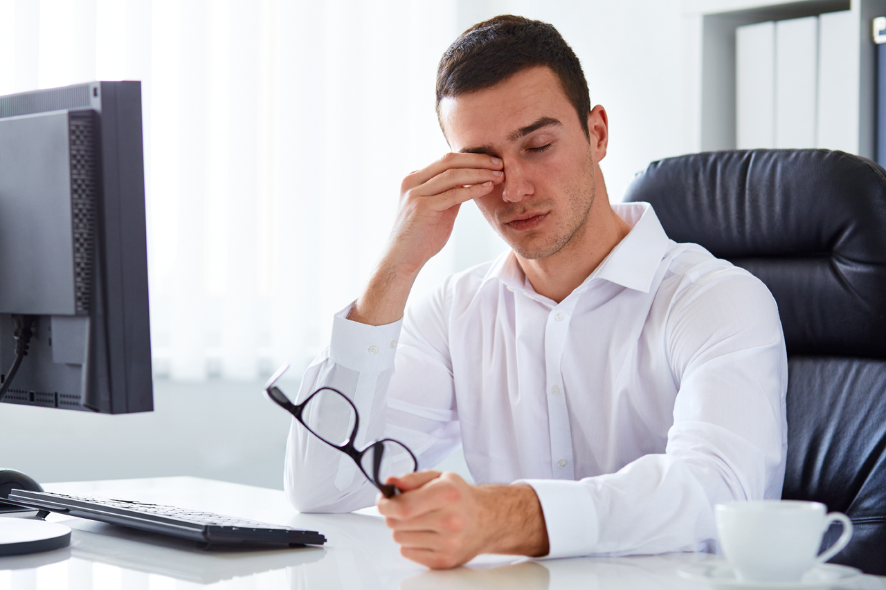 Man suffering from Dry Eye Syndrome