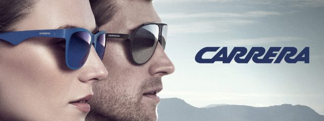 Optometrist, man & woman wearing Carrera sunglasses in Delaware, Ohio