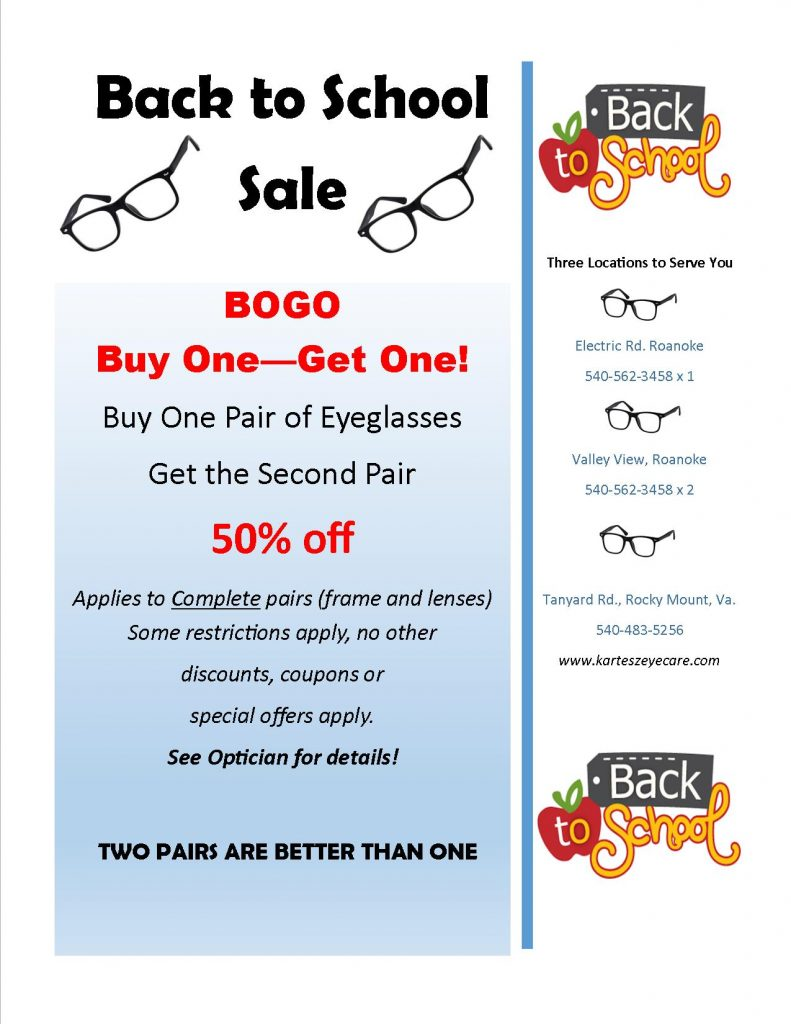 Back to school - Glasses Sale Flyer - Roanoke & Rocky Mount, VA