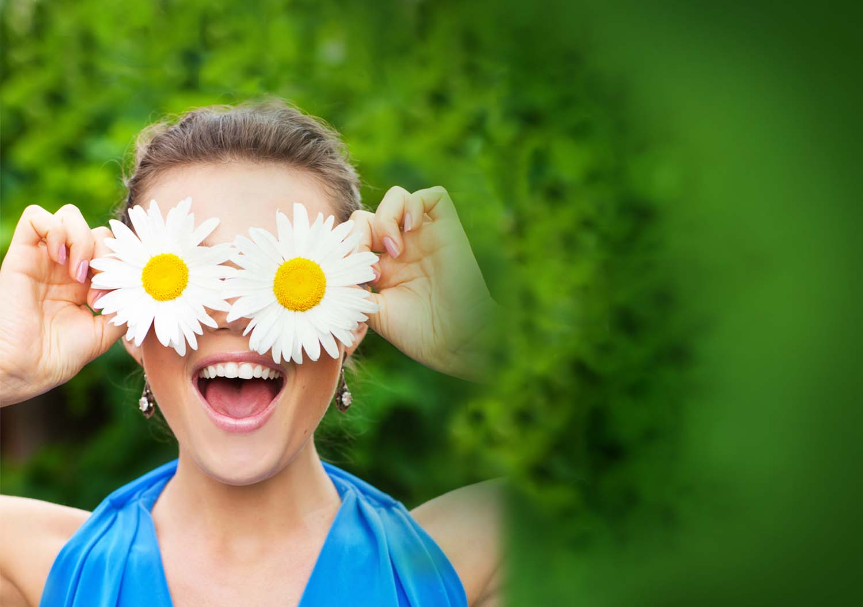 Eye doctor, happy woman with flowers over her eyes in Oxmoor, Springhurst, LaGrand & Carrollton, Kentucky