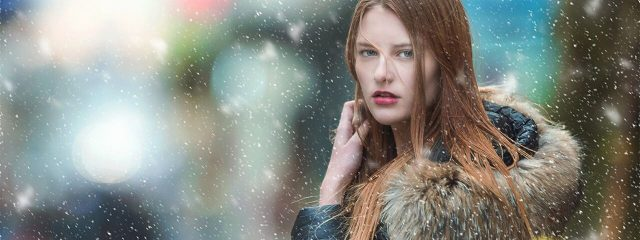 beautiful woman wearing winter stylish contact lens