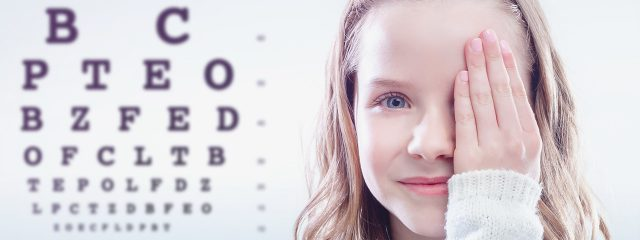Eye care, girl at an eye exam in Los Osos, Paso Robles and Atascadero, California
