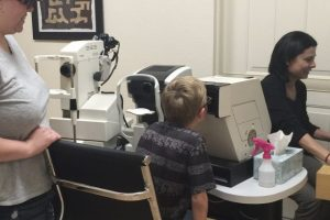 Optometrist, little boy at an eye exam in Copperas Cove, TX