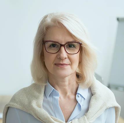 eye exam, Middle-Aged Woman Wearing Eyeglasses